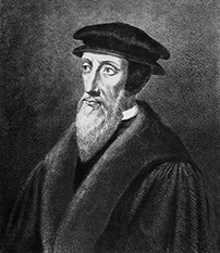 JOHN CALVIN (1509-1564).  French theologian: lithograph, 19th century.